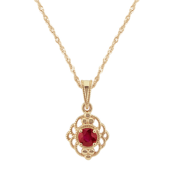 Vintage Ruby Pendant in 14k Yellow Gold (18 in)