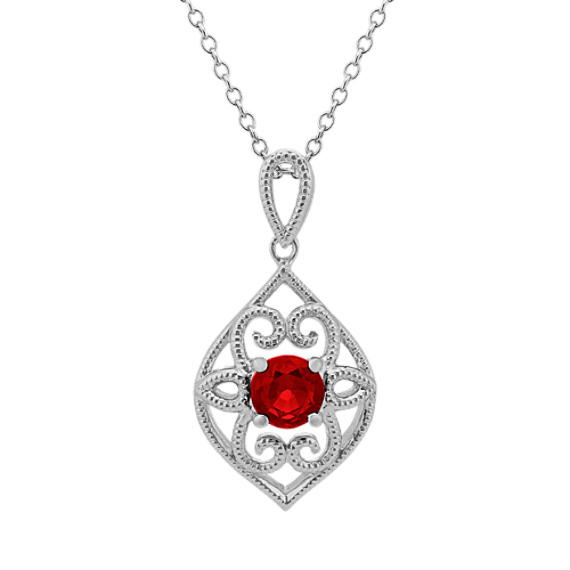 Vintage Ruby Pendant in Sterling Silver (20 in.)