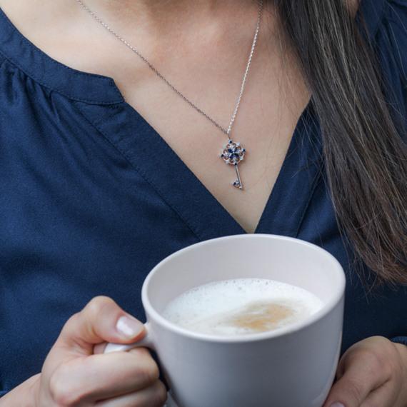 Vintage Sapphire & Diamond Key Pendant (22in.) image