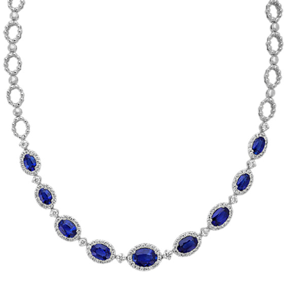 Vintage Sapphire and Diamond Necklace (18 in)
