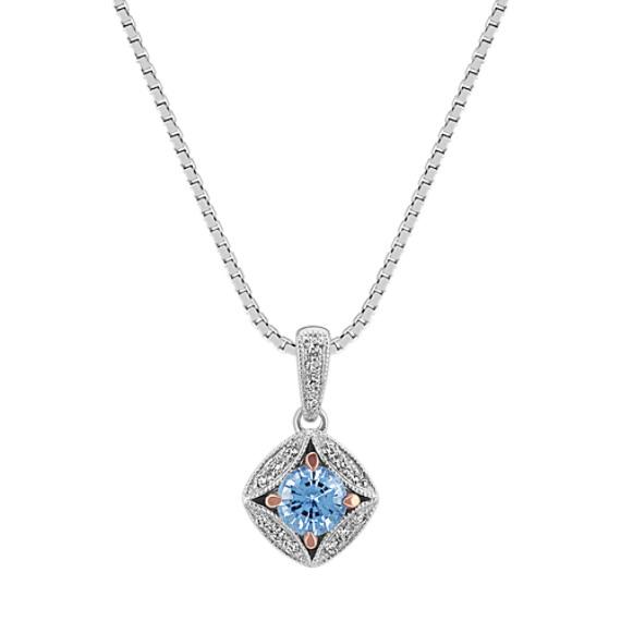 Vintage Sapphire and Diamond Pendant (18 in)