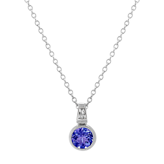 Vintage Tanzanite and Diamond Pendant (22 in.)