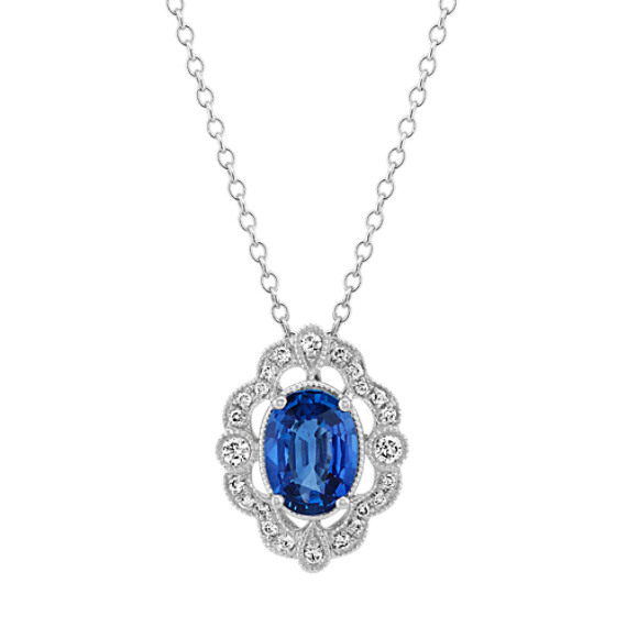 Vintage Traditional Blue Sapphire and Diamond Pendant (22 in)