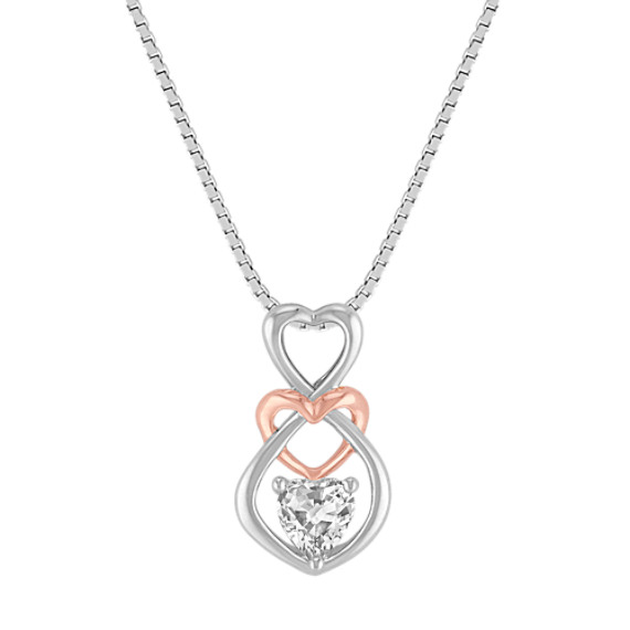 White Sapphire Heart Pendant in Sterling Silver and 14k Rose Gold (20 in)