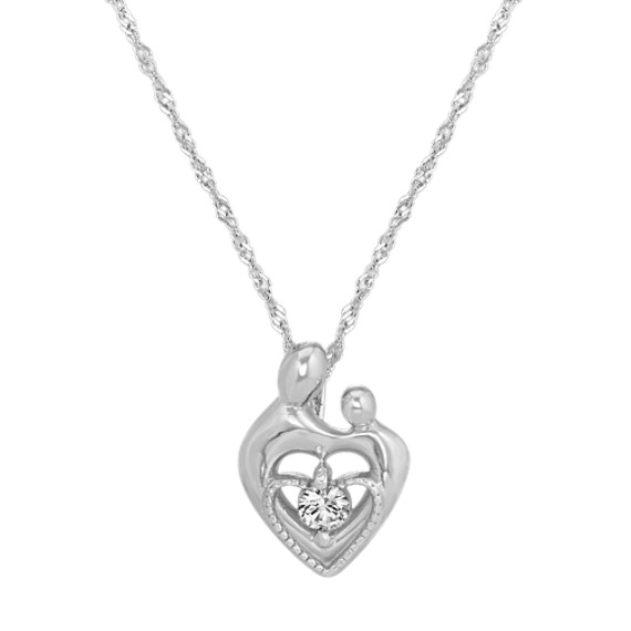 White Sapphire Mother & Child Heart Pendant (20 in)