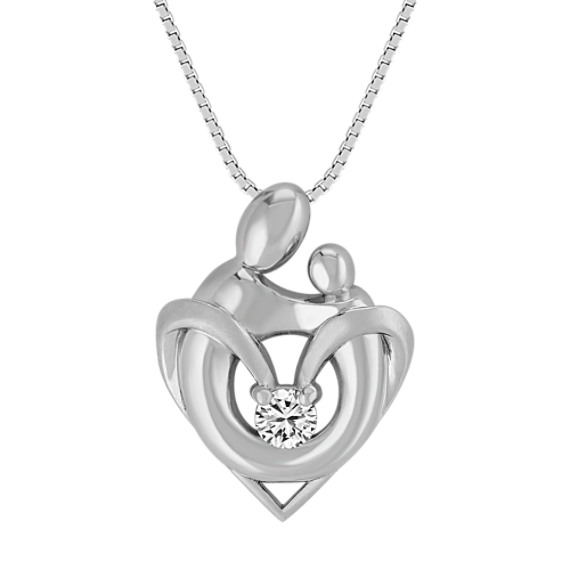White Sapphire Mother & Child Pendant in Sterling Silver (18 in)
