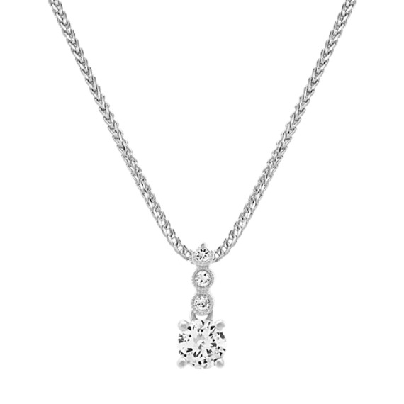White Sapphire Pendant in Sterling Silver (22 in)