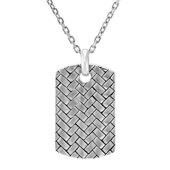 Woven Sterling Silver Dog Tag Necklace (20 in)