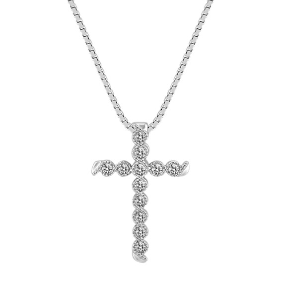 Wrapped Round Diamond Cross Pendant (18 in)