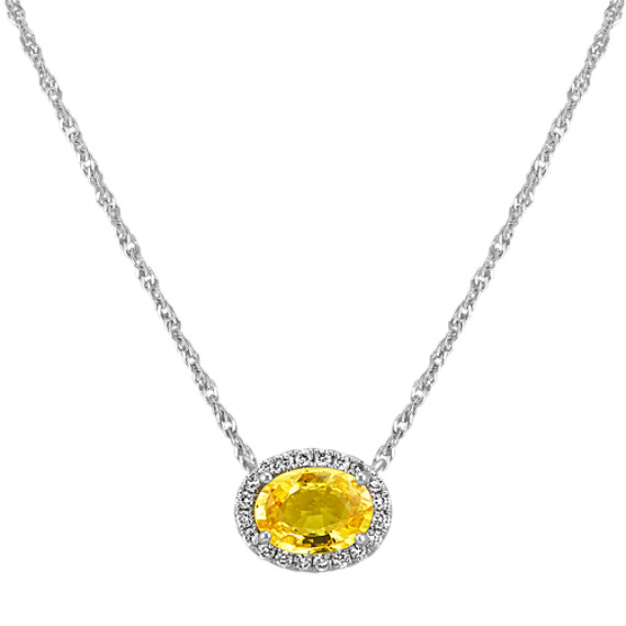 Yellow Sapphire and Diamond Oval Halo Necklace (18 in)