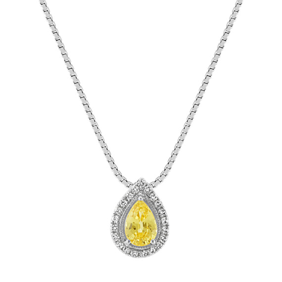 Yellow Sapphire and Diamond Pendant (18 in)