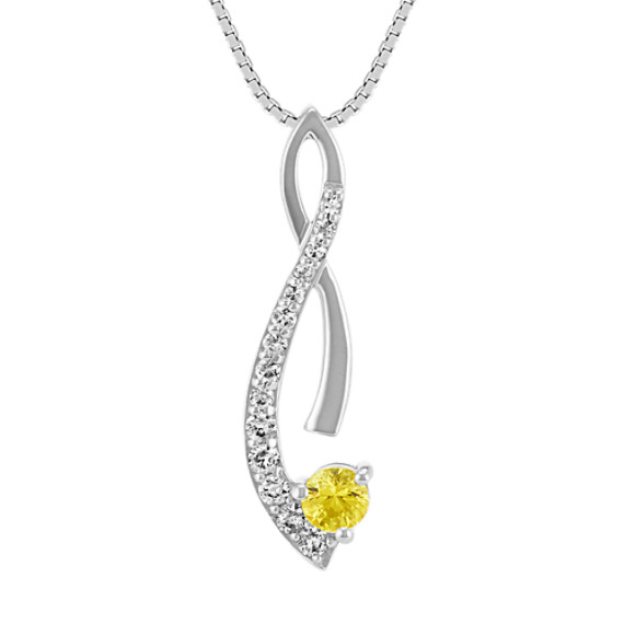 Yellow and white sapphire pendant in 14k white gold 18 in shane co yellow and white sapphire pendant in 14k white gold 18 in aloadofball Choice Image
