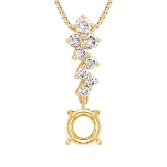 Zigzag Round Diamond Pendant (18 in)