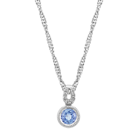 Ice Blue Sapphire and Diamond Pendant (18 in)