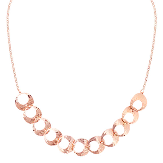 Rose Sterling Silver Circle Necklace (16