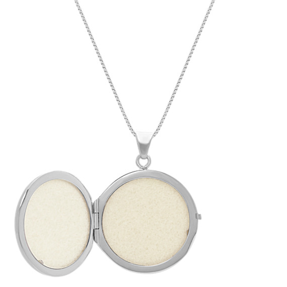 Engraved Sterling Silver Circle Locket (20 in) image