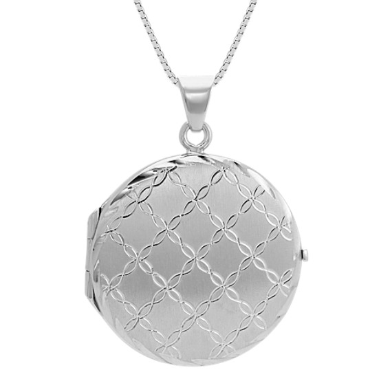 Engraved Sterling Silver Circle Locket (20 in)