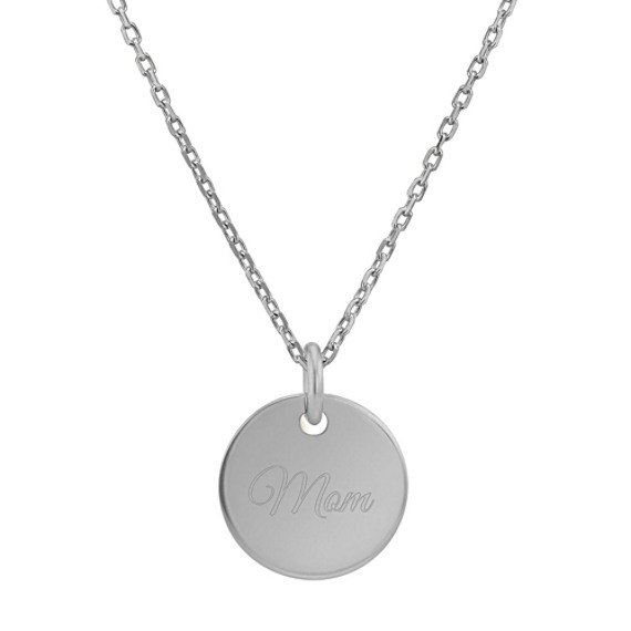 Engravable Circle Pendant in 14k White Gold (18