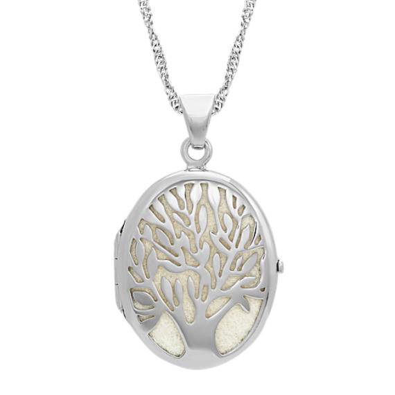 Sterling Silver Oval Tree Locket (20 in)