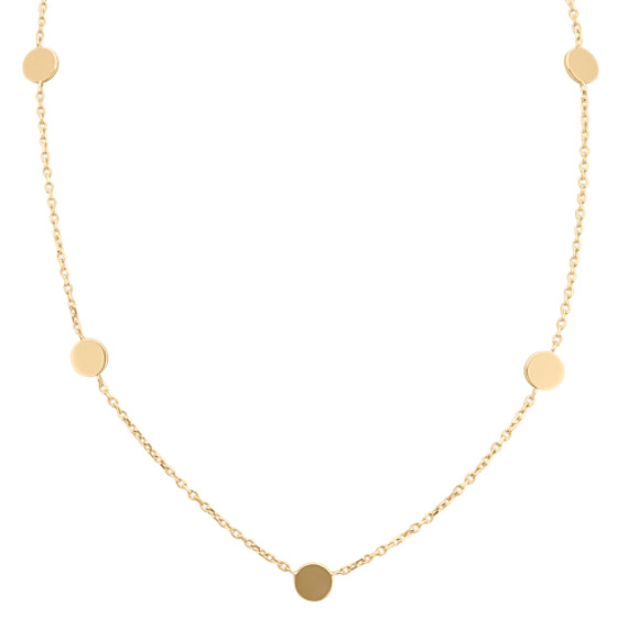 14k Yellow Gold Necklace with Circle Accents (18 in)