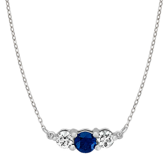 Traditional Sapphire and Diamond Necklace (18 in)