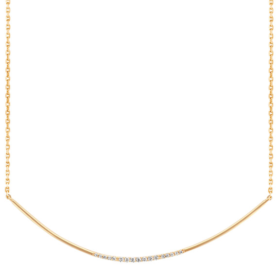 Curved Bar Diamond Necklace (18 in)