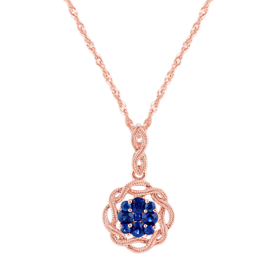Vintage Sapphire Pendant in 14k Rose Gold (20 in)