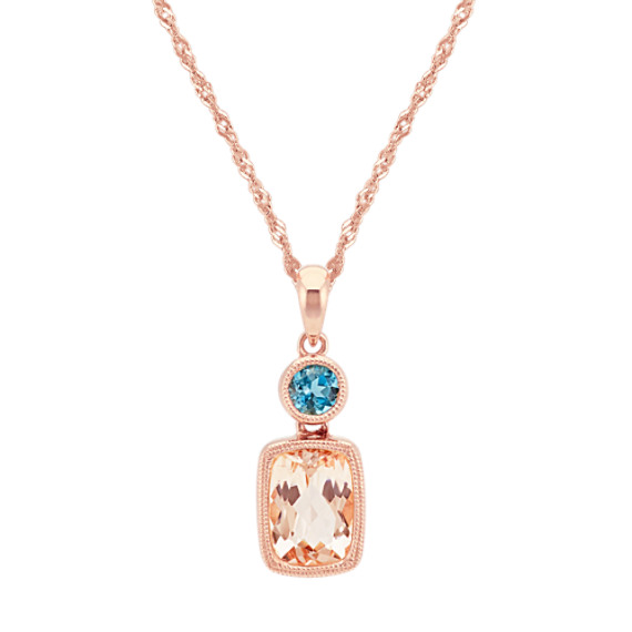 Pink Morganite and London Blue Topaz Pendant (20 in)