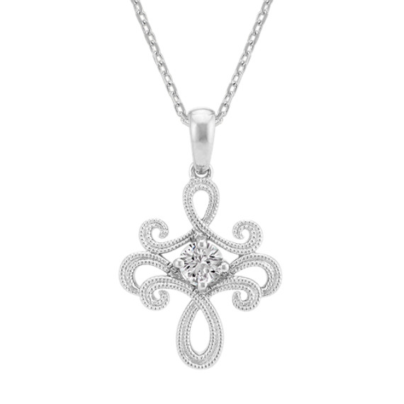 White Sapphire Pendant in Sterling Silver (20 in)