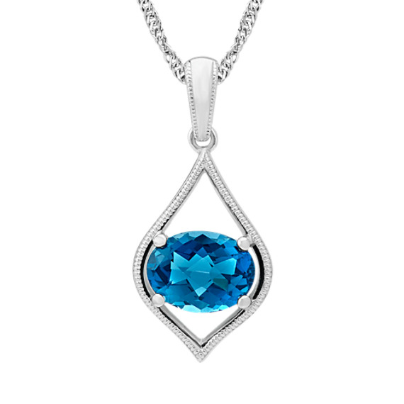 Checkerboard Cut London Blue Topaz Pendant (20