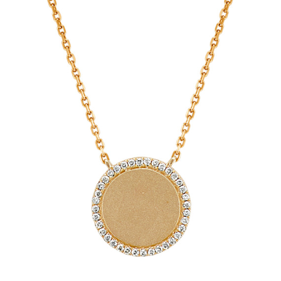 Diamond Circle Pendant in 14k Yellow Gold (18 in)