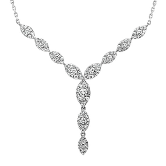 Diamond Dangle Necklace in 14k White Gold (18