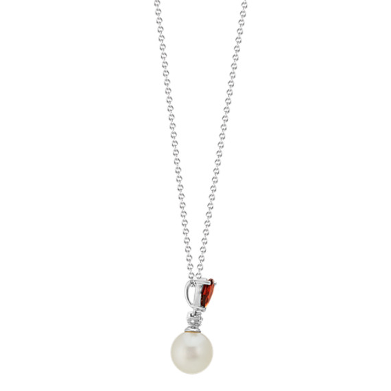 8mm Freshwater Pearl, Diamond and Garnet Necklace (20 in) image