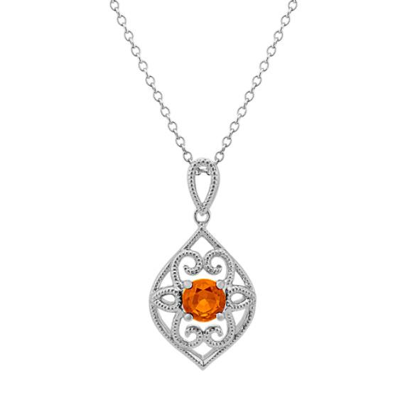 Vintage Orange Sapphire Pendant (20 in.)