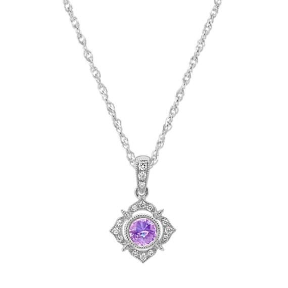 Lavender Sapphire and Diamond Pendant (18 in)