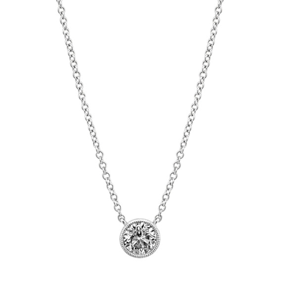 Bezel-Set Round Diamond Necklace (18 in)
