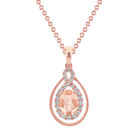 Vintage Morganite and Diamond Pendant (20 in)