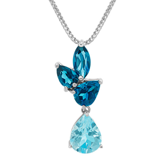Sky Blue and London Blue Topaz Pendant (20 in)