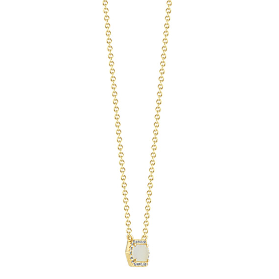 Mother of Pearl and White Sapphire Necklace (18 in) image