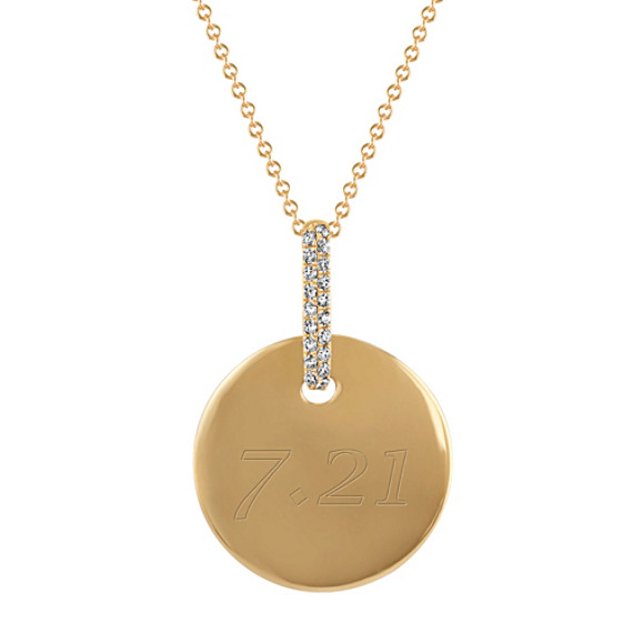 Round Diamond Circle Pendant in 14k Yellow Gold