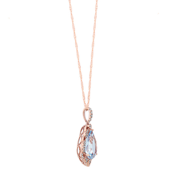 Pear-Shaped Aquamarine & Diamond Pendant (20 in) image