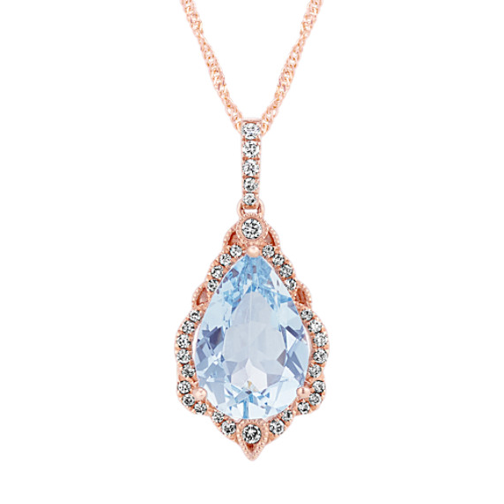 Pear-Shaped Aquamarine & Diamond Pendant (20 in)