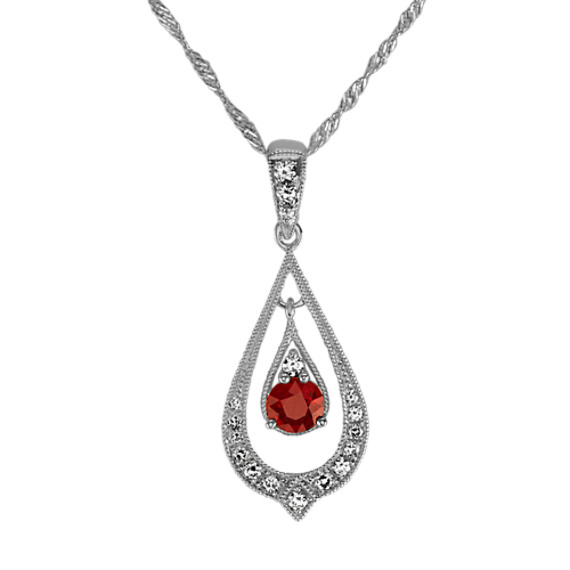 Vintage Ruby and Diamond Pendant (18 in)