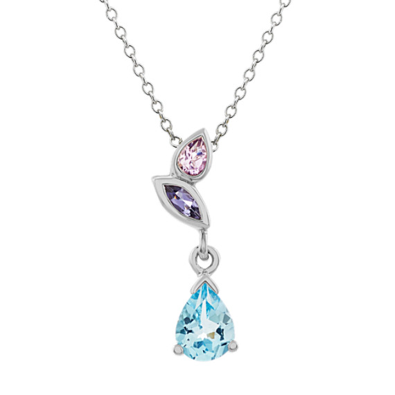 London Blue Topaz, Amethyst and Iolite Pendant (20 in)