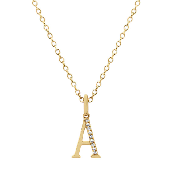 Diamond Letter A Pendant in 14k Yellow Gold (18 in)