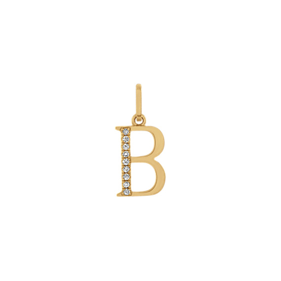 Diamond Letter B Charm in 14k Yellow Gold