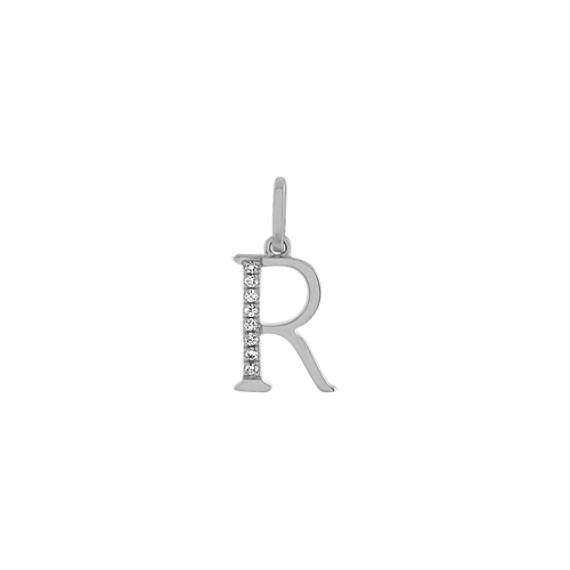 Diamond Letter R Charm in 14k White Gold