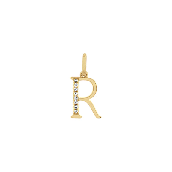 Diamond Letter R Charm in 14k Yellow Gold