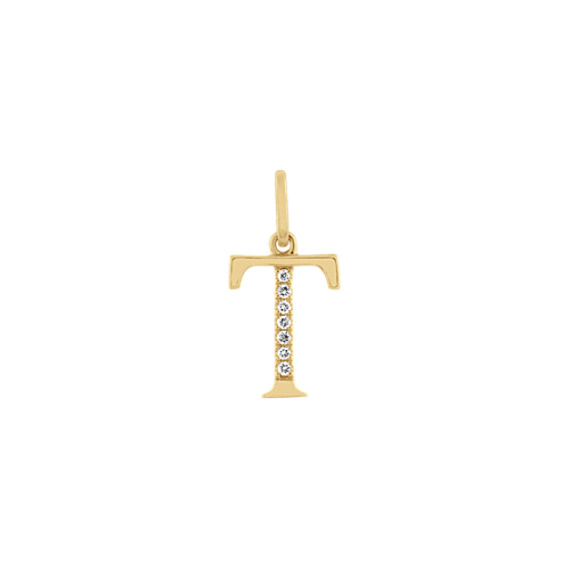 Diamond Letter T Charm in 14k Yellow Gold