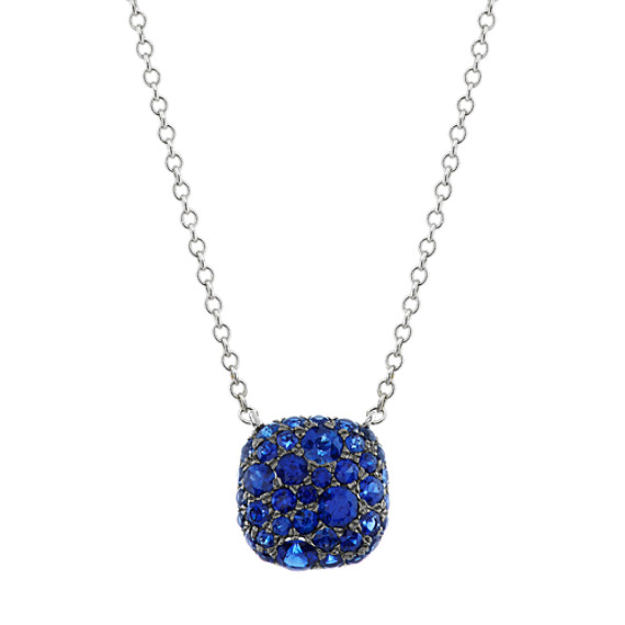 Traditional Blue Sapphire Cluster Necklace in 14k White Gold (18 in)